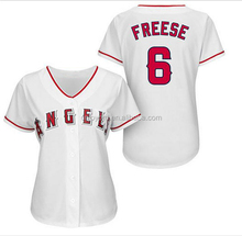 100% polyester sublimation printing ladies blank baseball jersey white