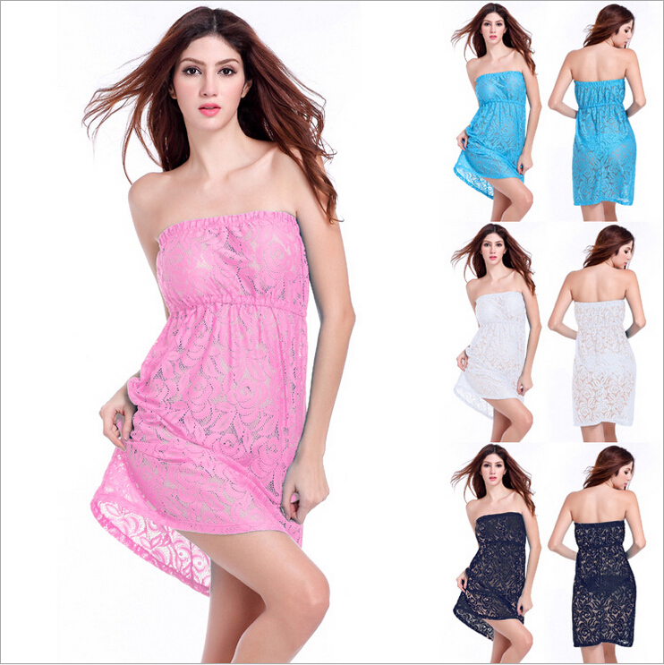 2015 summer new high-end women's short sleeved lace strapless beach skirt  bikini hollow shirt  4 color