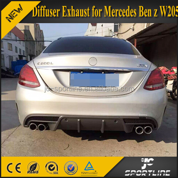 W205 Rear Bumper Diffuser with Exhuast Tips for Mercedes Ben z W205 Sport Bumper