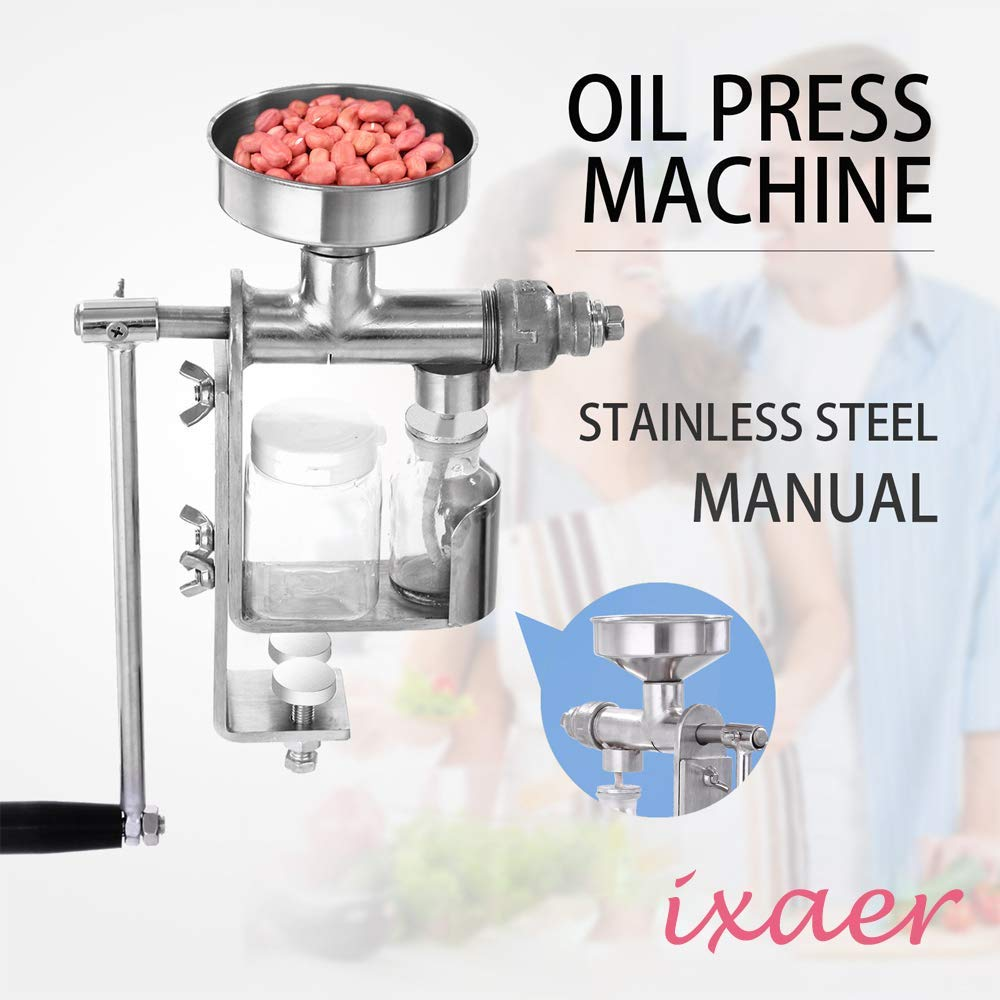 Household Stainless Steel Hand Press, ixaer Manual Oil Machine Oil Expeller Extractor