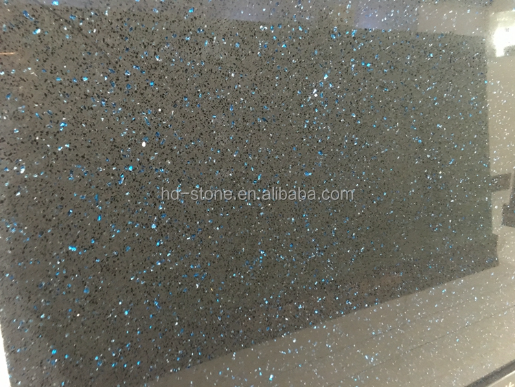 Cheap Artificial Grey Quartz Stone Slab with Blue Mirror Chips for Countertops