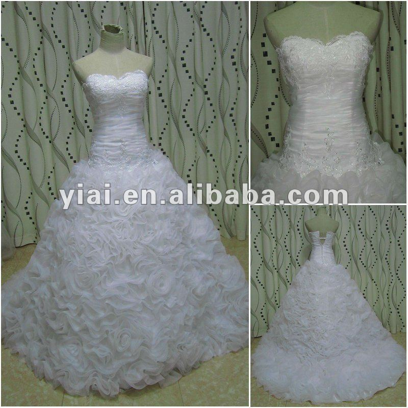 JJ2700 Alibaba China High Quality Long Train Ball Gown Hand Made flower bridal gown wedding dresses 2012