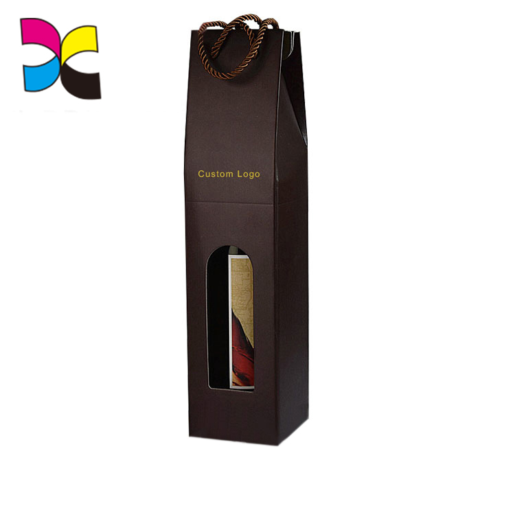 OEM Printing Strong Paperboard With Handle Corrugated Black Wine Box