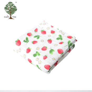 Muslin tree 4 layer custom bamboo cotton fabric baby swaddle blanket