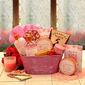 Pretty In Pink Tea Rose Spa Gift Basket Birthday Holiday Or Mothers Day