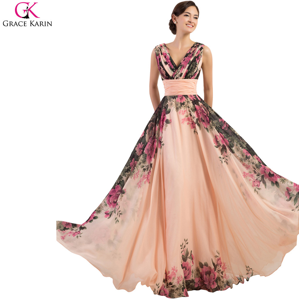 Get Quotations · Vintage Design Grace Karin Tank V Neck Sleeveless Chiffon  Floral Print Celebrity Long Prom Dress Women 193445a22