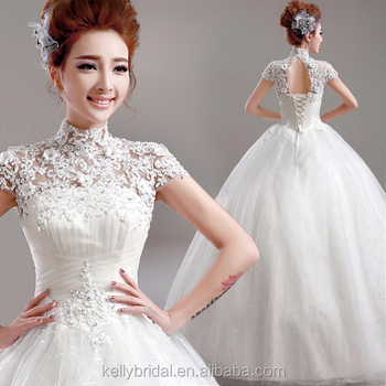 Zm 16111 French Lace Appliqued Wedding Dress Ball Gown Sparkling ...