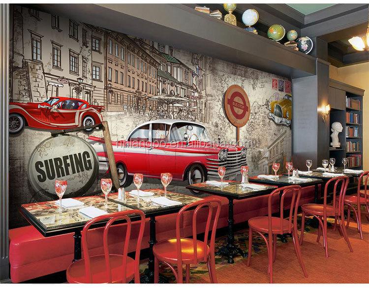 Papel de parede decorativo para restaurante caf bar carro for Mural decorativo pared