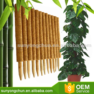 Coconut pole for plant support with coconut fiber PVC bamboo stick