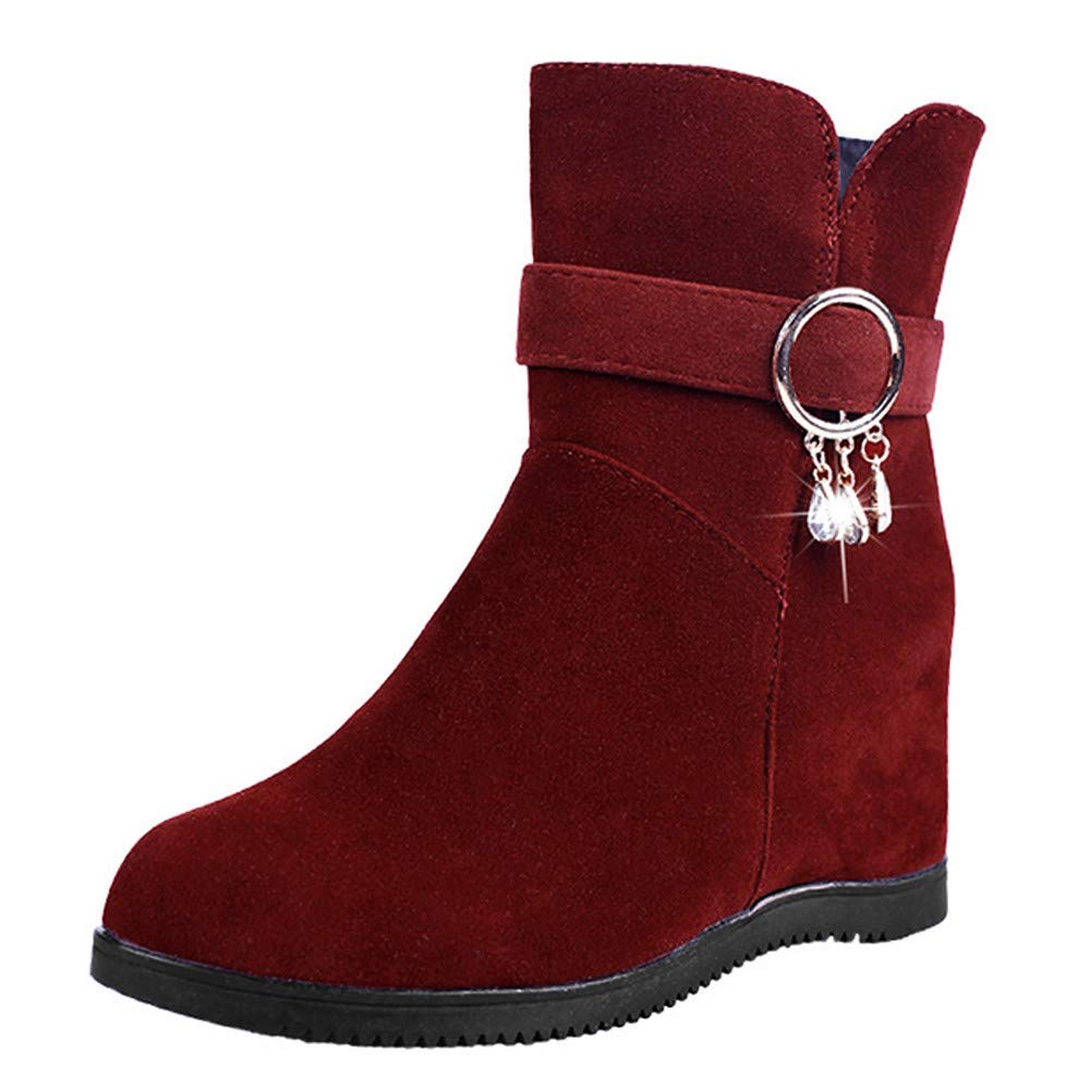 e36a994c7356 Get Quotations · Clearance Sale! Caopixx Boots for Women s Block Heel Ankle  Boot Ladies Side Zip Bootie Flock