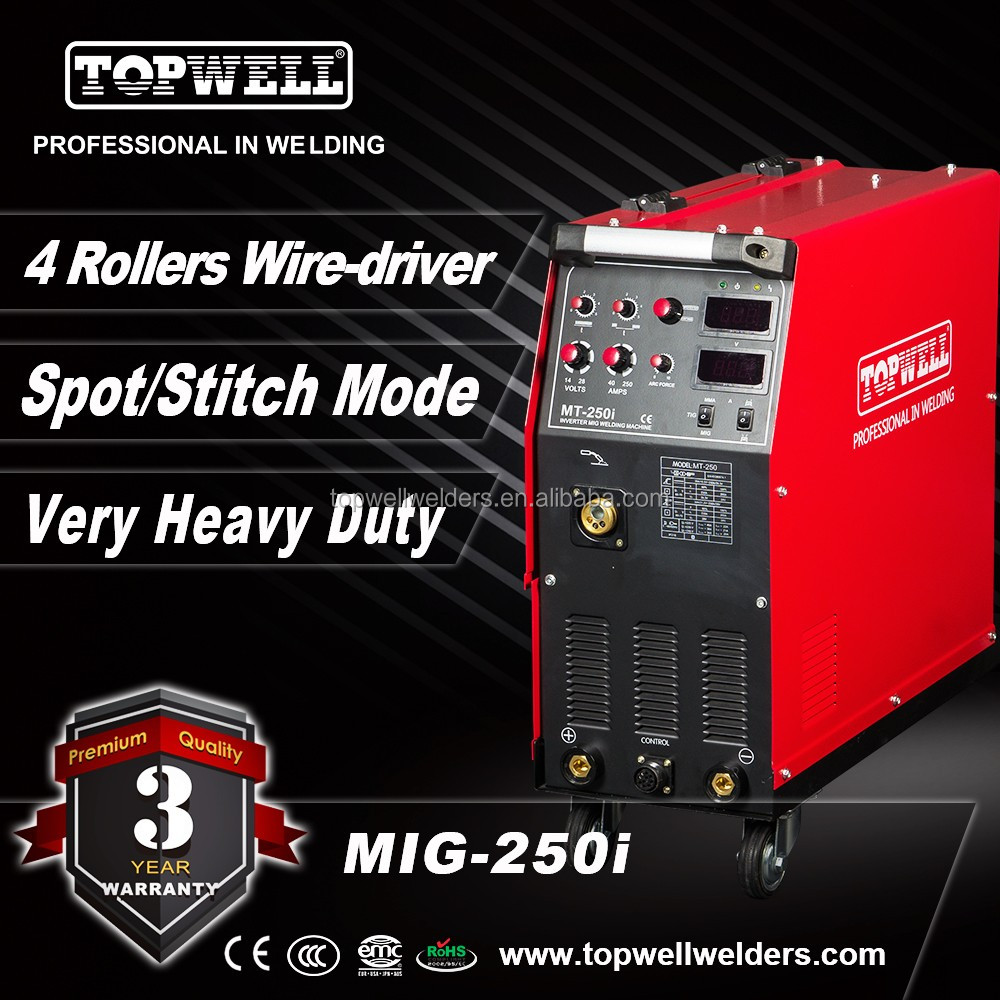 TOPWELL 250 Amp MIG welder with 4 roll wire feed for mild steel welding MIG-250i