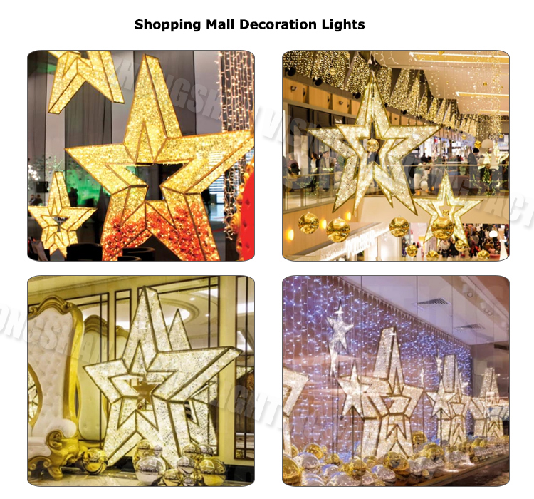 Led Shopping Mall Center High Quality Outdoor Park / Square Christmas Decoration Giant 3d Light / Lights Star