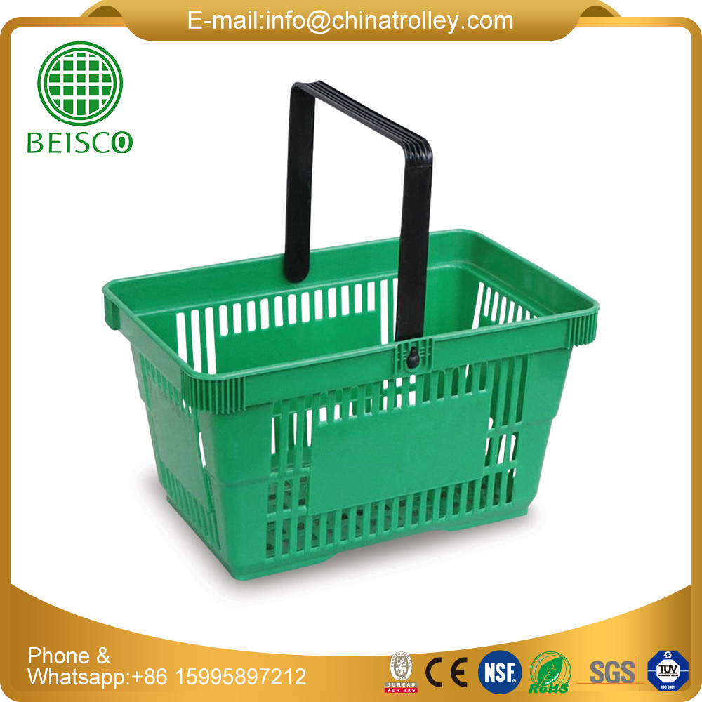 Shopping basket with chrome metal handles