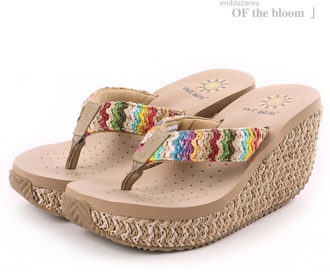 46661fbc242d0 Buy 2015 bohemia elegant women platform wedges flip flops sandals   sexy platform  women beach slippers soft boat sandals slippers in Cheap Price on Alibaba.  ...