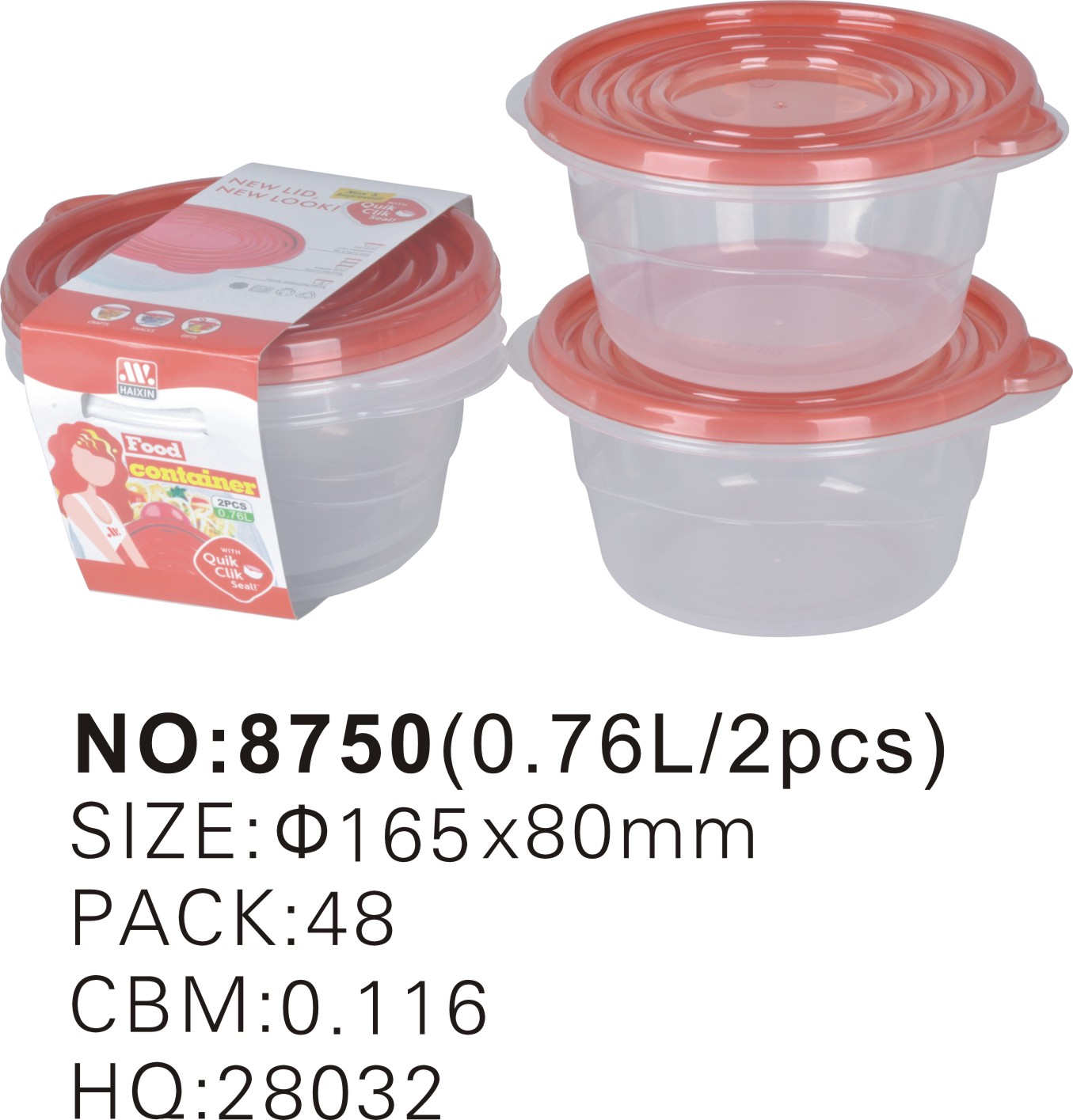 Haixing Plastic Pp Round Disposable Food Container For