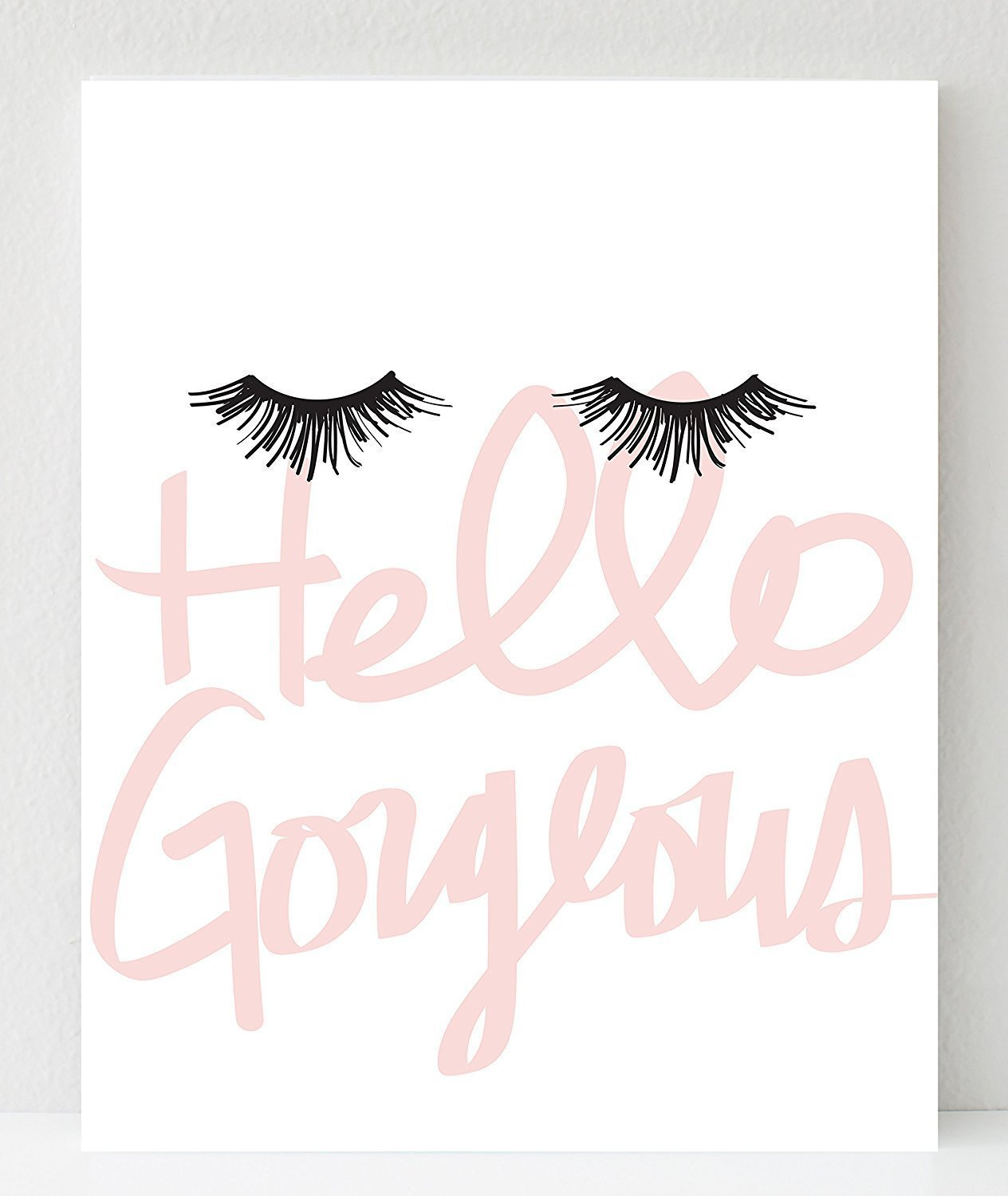 "UNFRAMED Hello Gorgeous Print, Eyelash Art Makeup in Size 12""x12"", 12""x18"", 16""x20"", 18""x24"", 24x36"