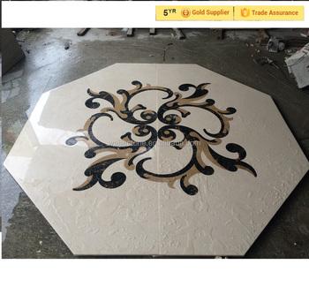 Marble Hexagon Tile Floor Medallion Mural Pattern