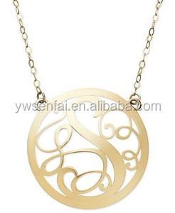 China alibaba website hot sale gold plated round shape s alphabet pendant design