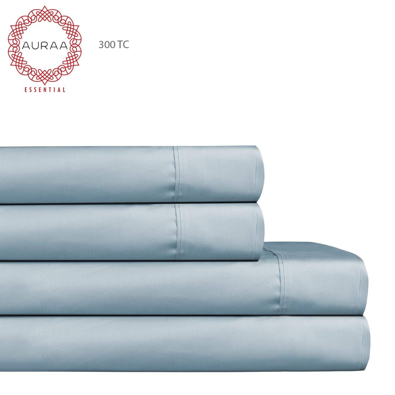 "AURAA Essential 300 Thread Count 100% Long Staple Cotton Sheet Set - Queen Sheets - 4 Piece Set,Soft & Smooth Sateen Weave,Classic Z Hem,16"" DEEP Pocket,Luxury Hotel Bedding,Oeko-TEX Certified, Blue"