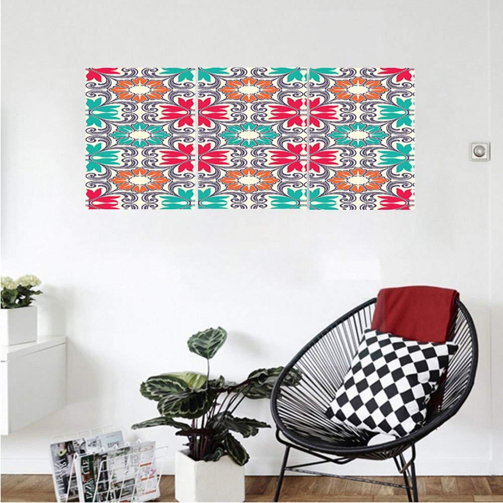 Liguo88 Custom canvas Moroccan Decor Collection Ornamental Illustration of Flowers Blooms Oriental Moroccan Vintage Decoration Bedroom Living Room Wall Hanging Red Green