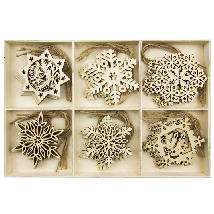 Christmas Wooden Ornaments Wood Snowflake Angel Star Christmas Tree Round Discs Decorations Hanging Embellishments