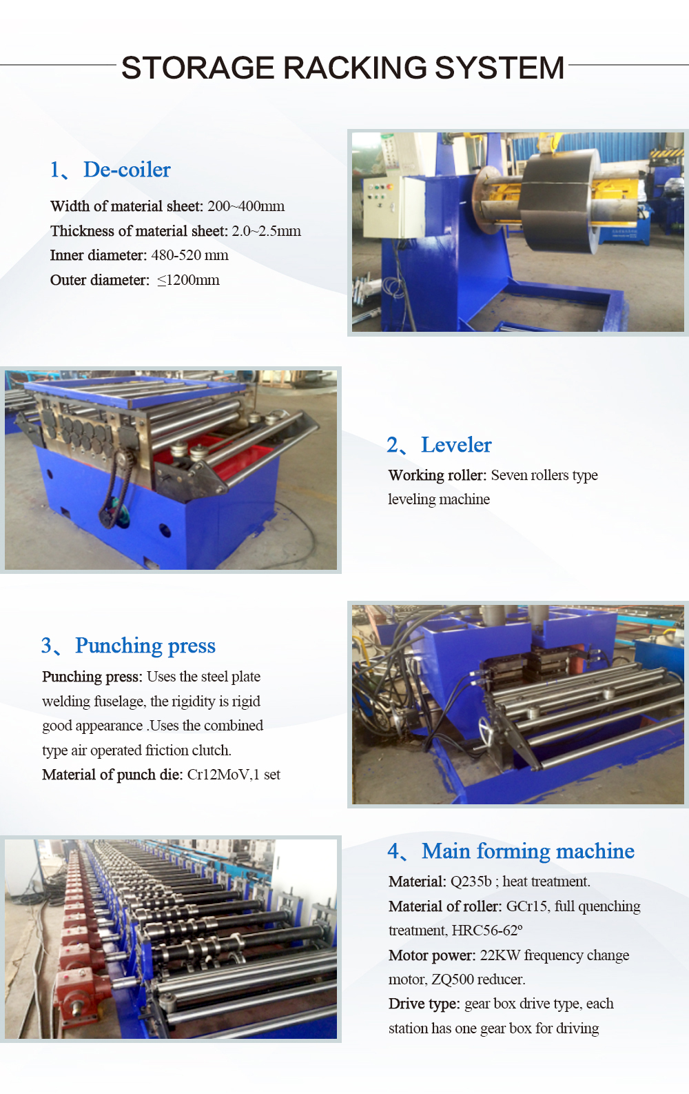 Metal Storage Warehouse Shelf Rack Roll Forming Machine