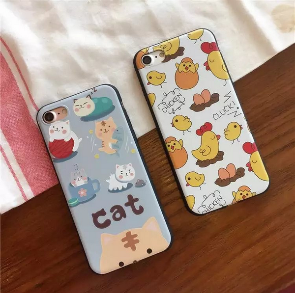 Cat and chicken pattern series case for iphone 7,Hand Painted Art Pattern Couple and goodfriends's gift TPU case for iphone 7