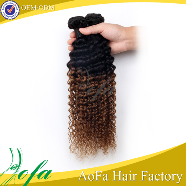 Competitive price top grade barzilian/ indian/ peruvian/ kinky curly virgin hair ombre weave extensions