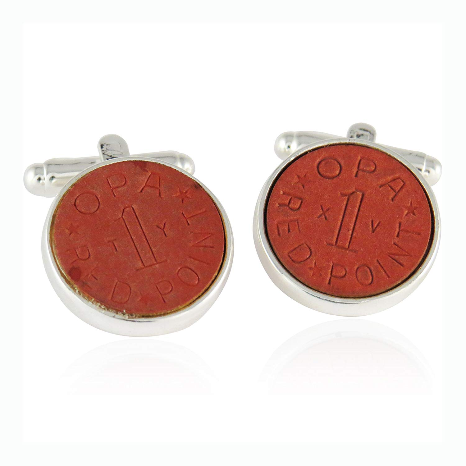 OPA Red Point WWII Ration Cufflinks Clad in Sterling Silver By Jewelry Mountain