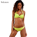 New Sexy Bikini Push Up Swimsuit Women Plus Size Swimwear Halter Biquini 2016 Solid Summer Beach