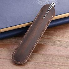 Сумка ручной работы из натуральной кожи, чехол для перьевой ручки из воловьей кожи, винтажные аксессуары в стиле ретро для путешествий и жур...(Китай)