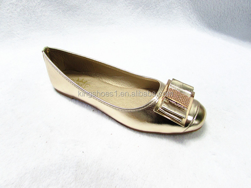 women gold PU ballerina round toe flat soft shoes party wear ladies fashion shoes