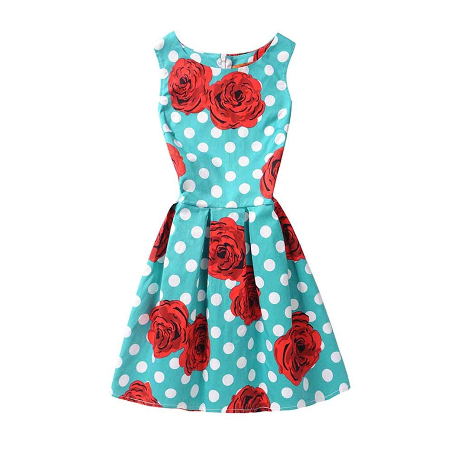 f91945a2dc6 Get Quotations · Aiweal Girls Sleeveless Dress Printing Casual Stretch Midi  Dresses 5-12 Years