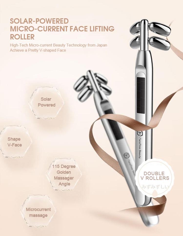 Solar Bar Beleza Massagem Para A Pele Tratamento de Rugas Endurecimento Soro Facial ferramentas Face Rolo Massageador Microcorrente Levantamento Da Pele
