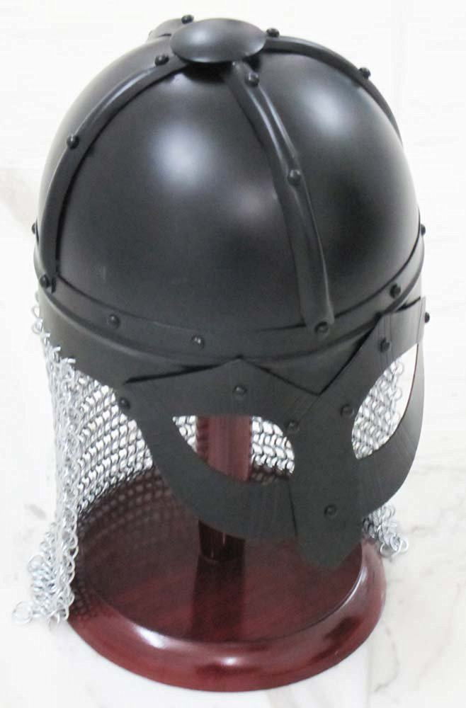 Shiv Shakti Enterprises Armour Medieval Norway Viking Helmet Spectacle Helmet With Chain-mail With Wooden Stand