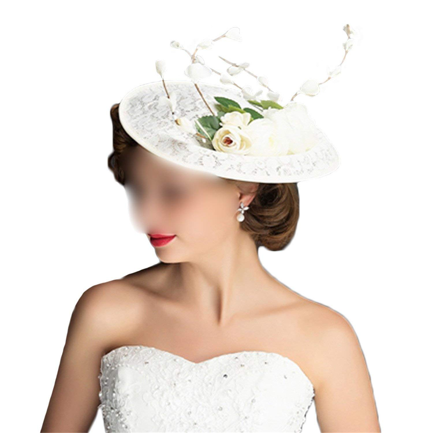 Get Quotations · Summer Sinamay Church Hats White Elegant Vintage Lady  Fascinators Cocktail Pillbox Hat Weddings Party Flower Cap bdd378dbb179