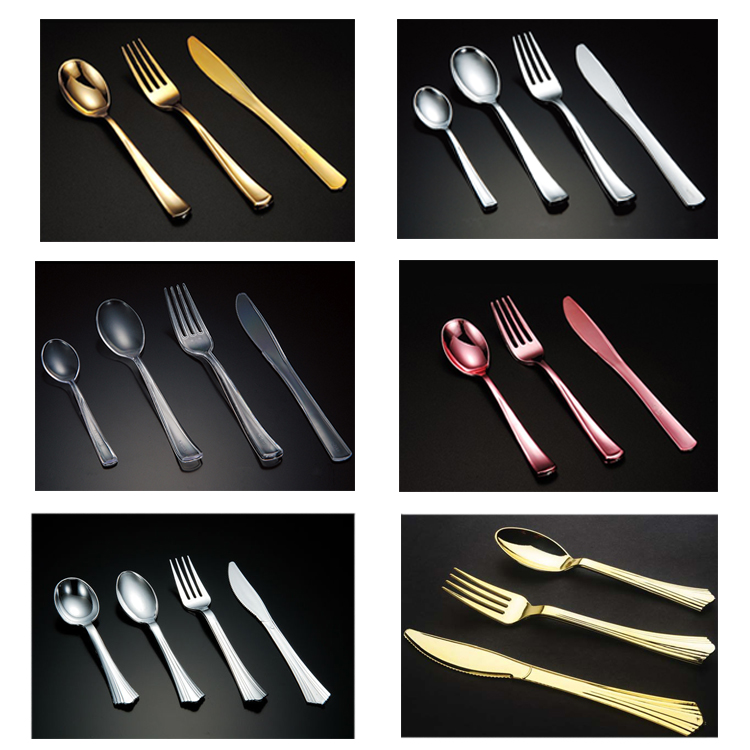 Flatware sets heavy duty disposable PS silver plastic cutlery set