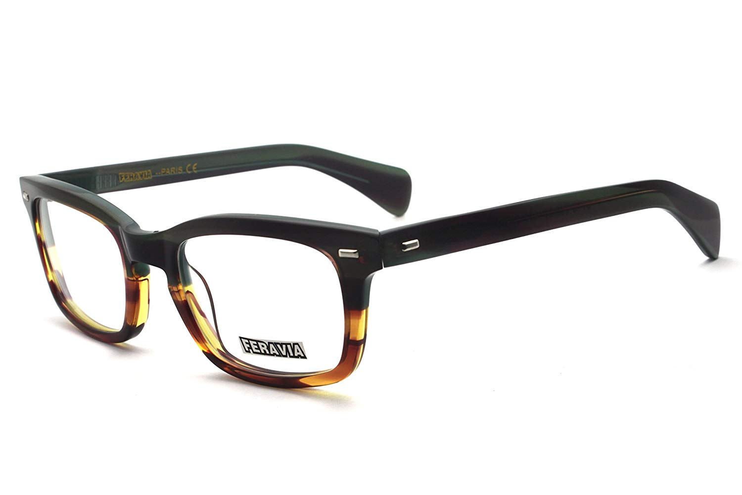 c53c995cefbf Get Quotations · Men Eyeglasses Strong Look Bold Rectangular Clear Lens Two  Toned Acetate