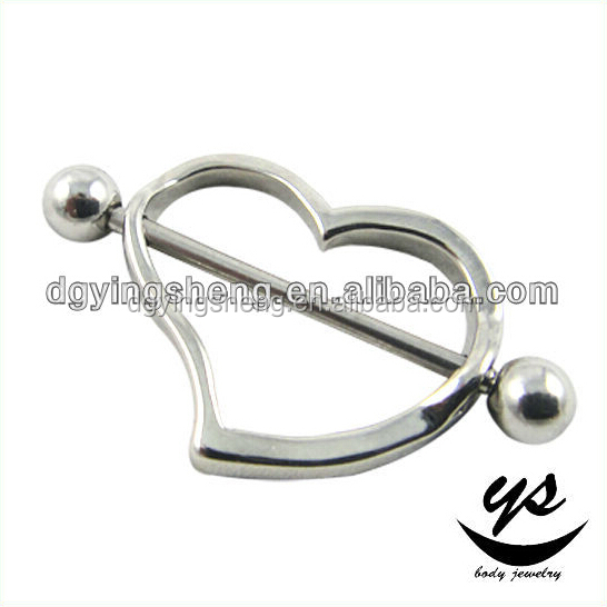 High quality 316l Stainless Steel Best Friend Heart Body Piercing Nipple Bar Body Jewelry