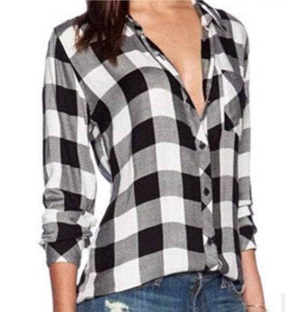 New Fashion Casual Plaid Shirt blouse Women Loose Long ...