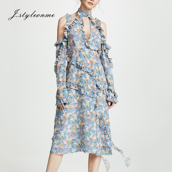 Women clothes long Ruffle Sleeve Print Dress