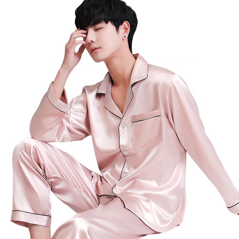 men's satin nightwear summer sleepwear set pajamas men sexy wholesale silk pajamass for men