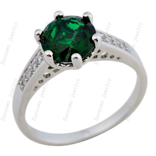 10ps/lot Size 6/7/8/9/10 Women Emerald Zircon Stone Rings 10KT White Gold Filled Fashion Jewelry Ring HOT Sale RW0090-6