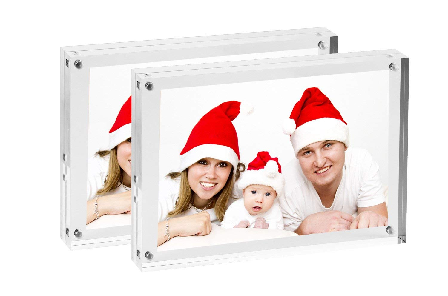 "Clear Double Sided Acrylic Magnetic Photo Frames | Free Standing Picture Frames For Elegant Desktop Display With Clear Borders - Set of 2 Frames - frame size 5"" x 7"" to hold photo 4"" x 6"" (2, 5"" x 7"")"