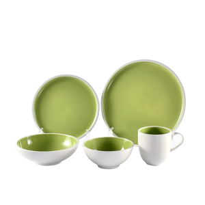 Hot sale modern western colorful mexican green color glazed restaurant used porcelain ceramic dinner set dinnerware wholesale