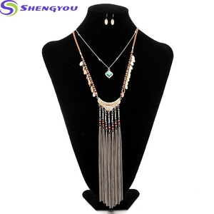 Magnificent Jewelry Set 2 Layers Chain With Some Cute Leaf Pendants And Two Different Colors Women Jewelry Set Tassel Necklace