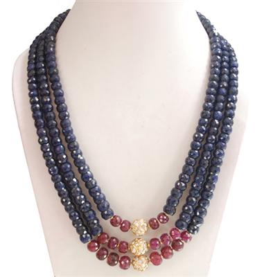 3 Strand Sapphire & Ruby Bead Necklace with Pearl Bead in Galva