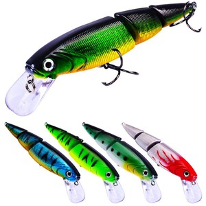 Swimbait Jointed Top Water Minnow Fishing Lures Hook Crankbait Bait Bass 3 Sections 11cm 14.7g Fishing Accessories