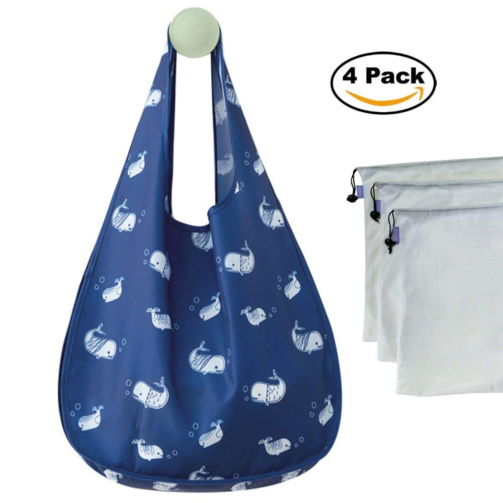Bage 4-Pack - Reusable Grocery Bags - Eco friendly Reusable Shopping Bag Foldable Into Attached Pouch – Washable Reusable Shopping Tote Bag + Set Of 3 Premium Reusable Mesh Produce Bags