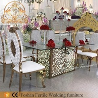 Color change large stainless steel dining table for wedding